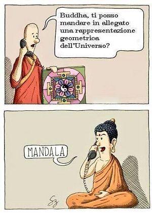 mandala con Buddha al Telefono